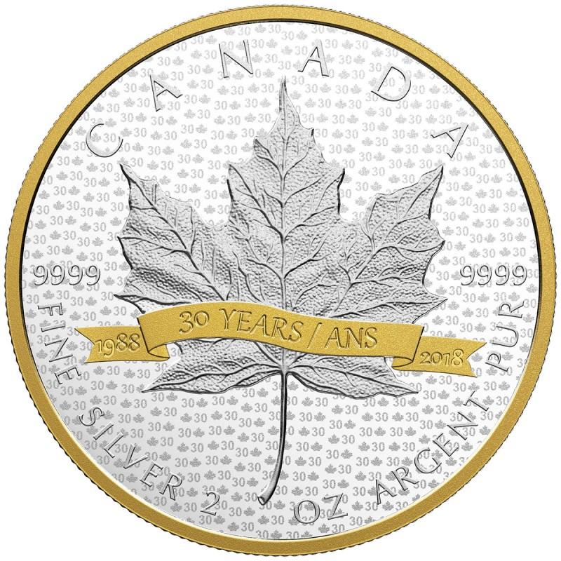 1988-2018 Silver Maple Leaf Shaped 30th Anniv SML $20 1OZ SilverProof CoinCanada