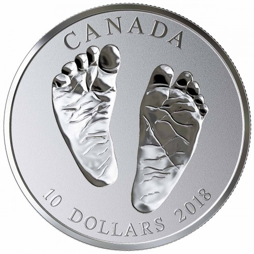 2018 Canadian $10 Welcome to the World, Baby Feet 1/2 oz Fine Silver Coin