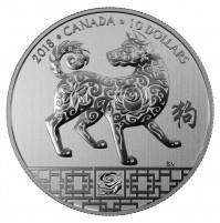 2018 Canada Fine Silver 10 Dollar Coin - Year of the Dog