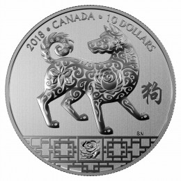 2018 Canadian $10 Year of the Dog - 1/2 oz Fine Silver Coin
