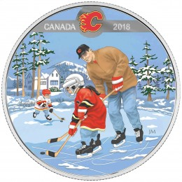 2018 Canadian $10 Learning to Play: Calgary Flames - Fine Silver Coin