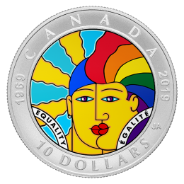 2019 (1969-) Canadian $10 Equality - 1/2 oz Fine Silver Coloured Coin