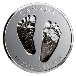 2019 Canadian $10 Welcome to the World, Baby Feet 1/2 oz Fine Silver Coin