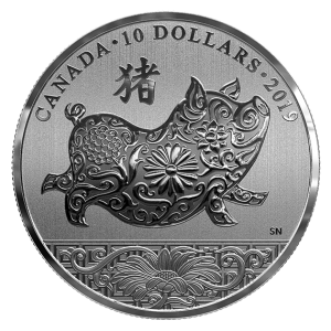 2019 Canadian $10 Year of the Pig 1/2 oz Fine Silver Coin