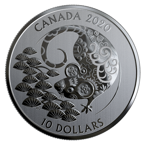 2020 Canadian $10 Year of the Rat - 1/2 oz Fine Silver Coin