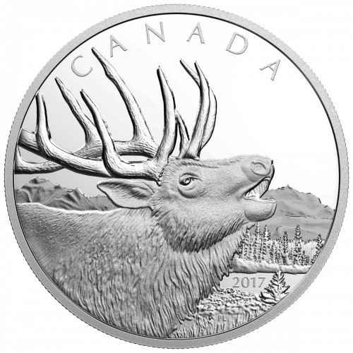 2017 Canadian $125 Call of the Wild: Elk - 1/2 Kilogram Fine Silver Coin-no outer box