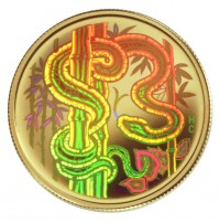 2001 Gold 150 Dollar Hologram Coin - Year of the Snake