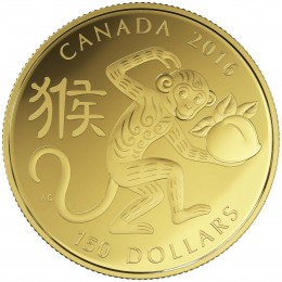 2016 Canadian $150 Year of the Monkey - 18-karat Gold Coin