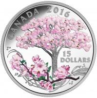 2016 Canada Fine Silver 15 Dollar Coin - Cherry Blossoms