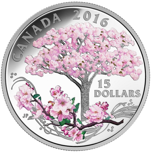 2016 Canada Fine Silver 15 Dollar Coin - Cherry Blossoms