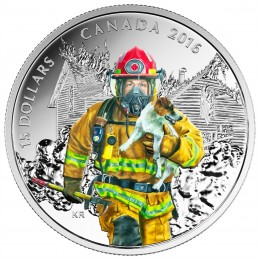 2016 Canadian $15 National Heroes: Firefighter - Fine Silver Coin