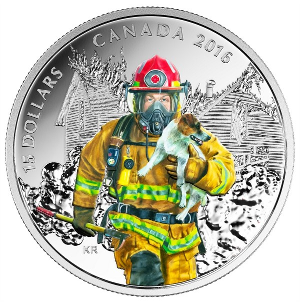 2016 Fine Silver 15 Dollar Coin - National Heroes: Firefighter