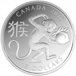2016 Canadian $15 Year of the Monkey - 1 oz Fine Silver Coin