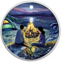 2017 Canada Fine Silver Glow-In-The-Dark 15 Dollar Coin - Great Canadian Outdoors: Around the Campfire