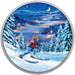 2017 Canadian $15 Great Canadian Outdoors: Night Skiing - Fine Silver Coin (Glow-In-The-Dark)