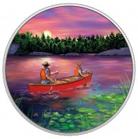 2017 Fine Silver Glow-In-The-Dark 15 Dollar Coin - Great Canadian Outdoors: Sunset Canoeing