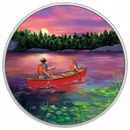 2017 Canadian $15 Great Canadian Outdoors: Sunset Canoeing - Fine Silver Coin (Glow-In-The-Dark)