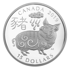 2019 Canadian $15 Year of the Pig 1 oz Fine Silver Coin