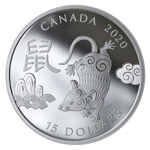 2020 Canadian $15 Year of the Rat - 1 oz Fine Silver Coin