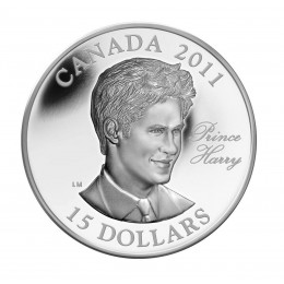 2011 Canada Sterling Silver 15 Dollar Coin - Continuity of the Crown: Prince Harry