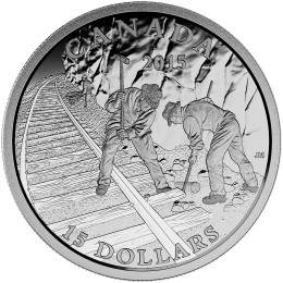 2015 Canadian $15 Exploring Canada: Building the Canadian Pacific Railway - Fine Silver Coin
