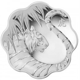 2010 Canadian $15 Lunar Lotus: Year of the Tiger Scallop-shaped Silver Coin