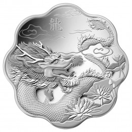 2012 Canadian $15 Lunar Lotus: Year of the Dragon Scallop-shaped Silver Coin