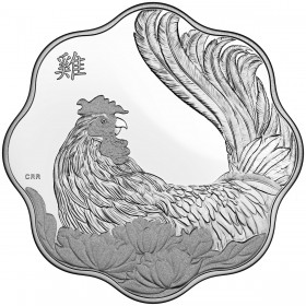 2017 Canadian $15 Lunar Lotus: Year of the Rooster Scallop-shaped Silver Coin