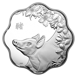 2019 Canadian $15 Lunar Lotus: Year of the Pig Scallop-shaped Silver Coin