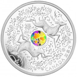 2012 Canada Fine Silver $15 Coin - Maple Series: Maple of Good Fortune