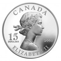 2009 Sterling Silver 15 Dollar Coin - Vignettes of Royalty: Queen Elizabeth