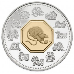 2008 Canada Sterling Silver $15 Coin - Lunar Cameo Series: Year of the Rat
