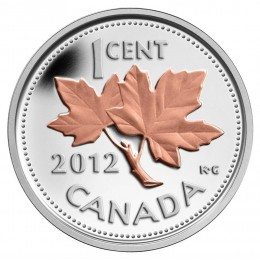 2012 Canadian 1-Cent Farewell to the Penny 1/2 oz Fine Silver & Pink Gold-plated Coin