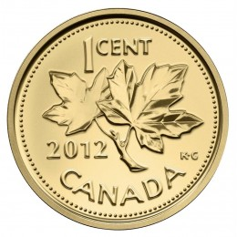 2012 Canadian 1-Cent Farewell to the Penny 1/25 oz Pure Gold Coin