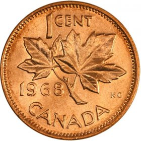 1968 Canadian 1-Cent Maple Leaf Twig Penny Coin (Brilliant Uncirculated)