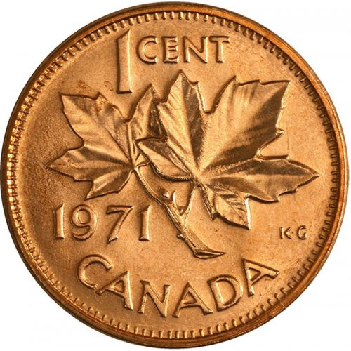1971 Canadian 1-Cent Maple Leaf Twig Penny Coin (Brilliant Uncirculated)