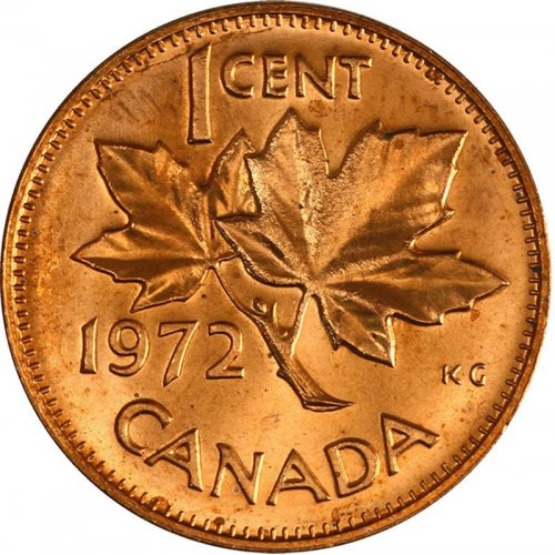 1972 Canadian 1-Cent Maple Leaf Twig Penny Coin (Brilliant Uncirculated)