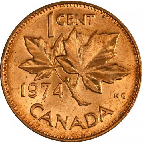 1974 Canadian 1-Cent Maple Leaf Twig Penny Coin (Brilliant Uncirculated)