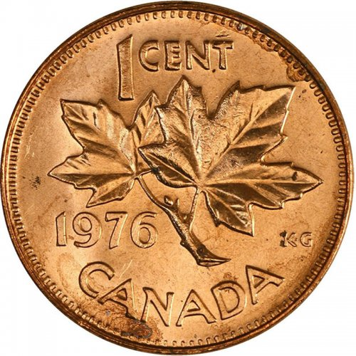 1976 Canadian 1-Cent Maple Leaf Twig Penny Coin (Brilliant Uncirculated)