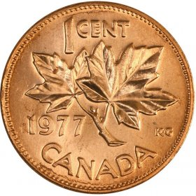 1977 Canadian 1-Cent Maple Leaf Twig Penny Coin (Brilliant Uncirculated)