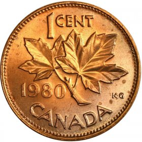 1980 Canadian 1-Cent Maple Leaf Twig Penny Coin (Brilliant Uncirculated)