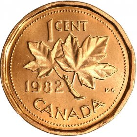 1982 Canadian 1-Cent Maple Leaf Twig Penny Coin (Brilliant Uncirculated)