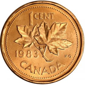 1983 Canadian 1-Cent Maple Leaf Twig Penny Coin (Brilliant Uncirculated)
