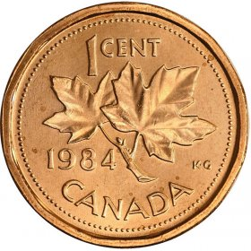 1984 Canadian 1-Cent Maple Leaf Twig Penny Coin (Brilliant Uncirculated)