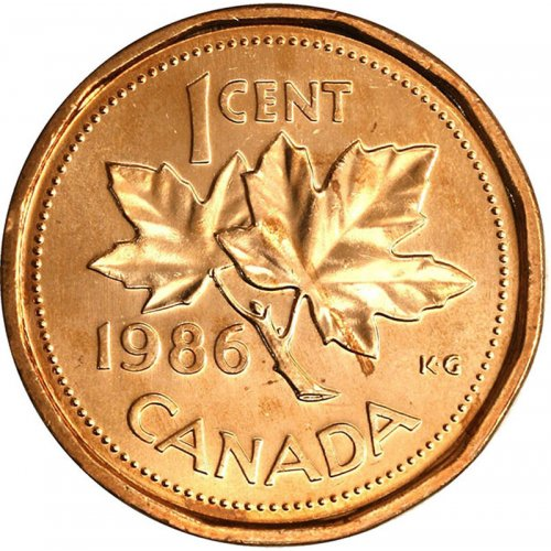 1986 Canadian 1-Cent Maple Leaf Twig Penny Coin (Brilliant Uncirculated)
