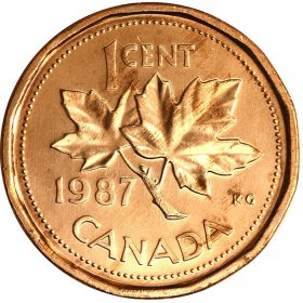 1987 Canadian 1-Cent Maple Leaf Twig Penny Coin (Brilliant Uncirculated)