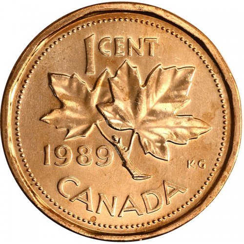1989 Canadian 1-Cent Maple Leaf Twig Penny Coin (Brilliant Uncirculated)