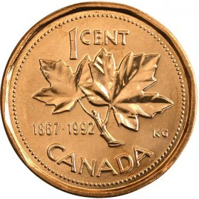 1992 (1867-) Canadian 1-Cent Maple Leaf Twig/Confederation Penny Coin (Brilliant Uncirculated)