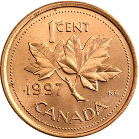 1997 Canadian 1-Cent Maple Leaf Twig Penny Coin (Brilliant Uncirculated)