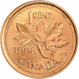 1998 Canadian 1-Cent Maple Leaf Twig Penny Coin (Brilliant Uncirculated)